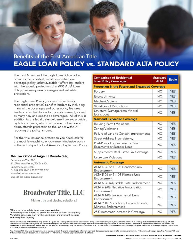 Eagle Loan Policy Vs Standard Alta